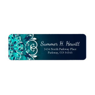 Teal, Blue And White Floral Swirls Mandala Return Address Label