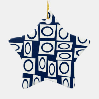 Teal Blue and White Fun Circle Square Pattern Ornaments