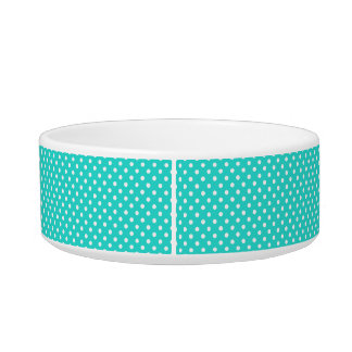 Teal Blue and White Polka Dots Pattern Bowl