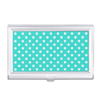 Teal Blue and White Polka Dots Pattern Business Card Cases