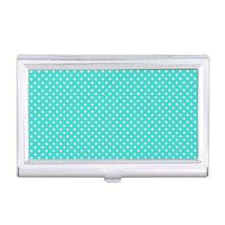 Teal Blue and White Polka Dots Pattern Case For Business Cards
