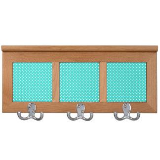 Teal Blue and White Polka Dots Pattern Coat Racks
