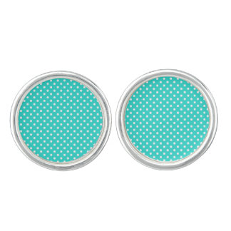 Teal Blue and White Polka Dots Pattern Cufflinks