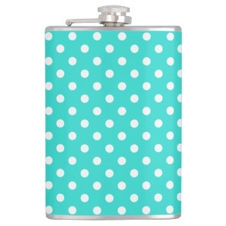 Teal Blue and White Polka Dots Pattern Flasks