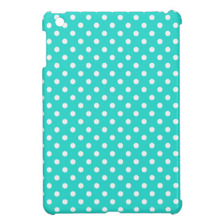 Teal Blue and White Polka Dots Pattern iPad Mini Cases