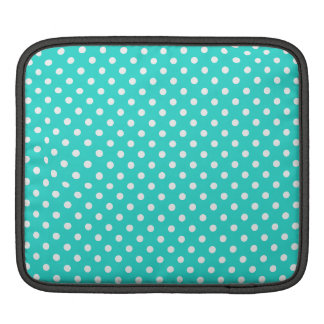 Teal Blue and White Polka Dots Pattern iPad Sleeve