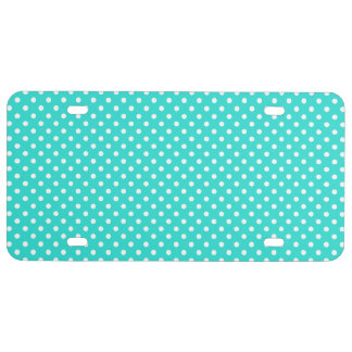 Teal Blue and White Polka Dots Pattern License Plate