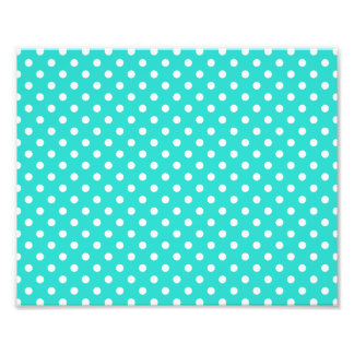 Teal Blue and White Polka Dots Pattern Photo Print