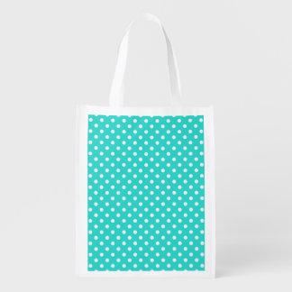 Teal Blue and White Polka Dots Pattern Reusable Grocery Bag