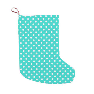 Teal Blue and White Polka Dots Pattern Small Christmas Stocking