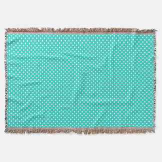 Teal Blue and White Polka Dots Pattern Throw Blanket