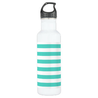 Teal Blue and White Stripe Pattern 710 Ml Water Bottle