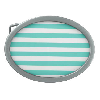 Teal Blue and White Stripe Pattern Belt Buckles
