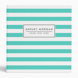 Teal Blue and White Stripe Pattern Binders