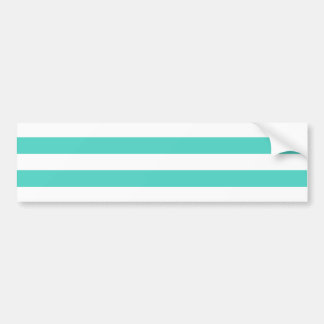 Teal Blue and White Stripe Pattern Bumper Sticker