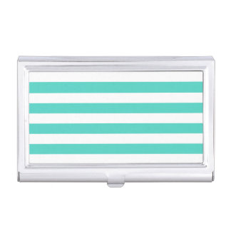 Teal Blue and White Stripe Pattern Business Card Cases
