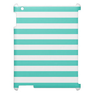 Teal Blue and White Stripe Pattern Cover For The iPad