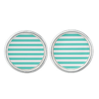 Teal Blue and White Stripe Pattern Cuff Links