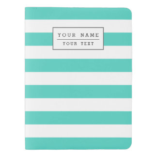 Teal Blue and White Stripe Pattern Extra Large Moleskine Notebook
