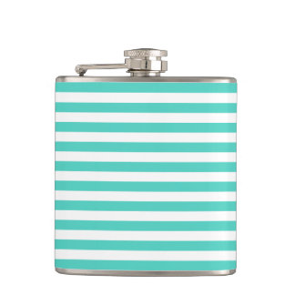 Teal Blue and White Stripe Pattern Flask