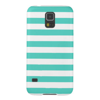 Teal Blue and White Stripe Pattern Galaxy S5 Cases