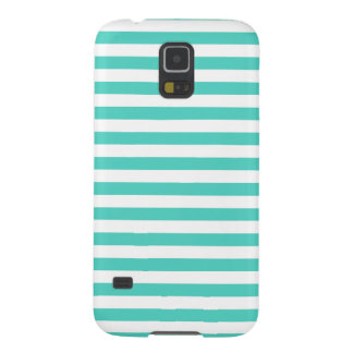 Teal Blue and White Stripe Pattern Galaxy S5 Cover
