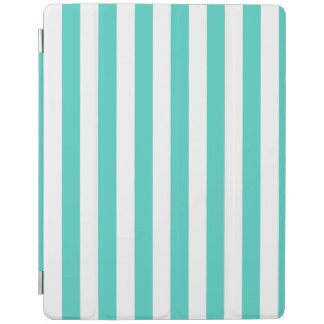 Teal Blue and White Stripe Pattern iPad Cover