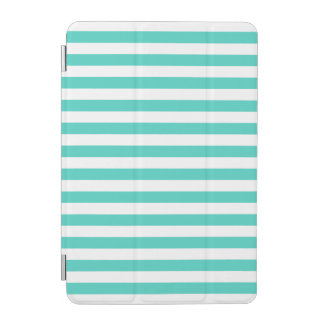 Teal Blue and White Stripe Pattern iPad Mini Cover