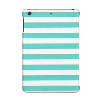 Teal Blue and White Stripe Pattern iPad Mini Covers