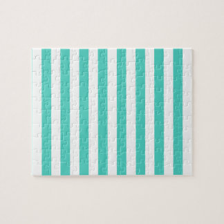 Teal Blue and White Stripe Pattern Jigsaw Puzzle