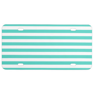 Teal Blue and White Stripe Pattern License Plate