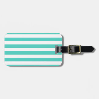 Teal Blue and White Stripe Pattern Luggage Tag