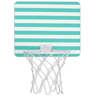 Teal Blue and White Stripe Pattern Mini Basketball Hoop