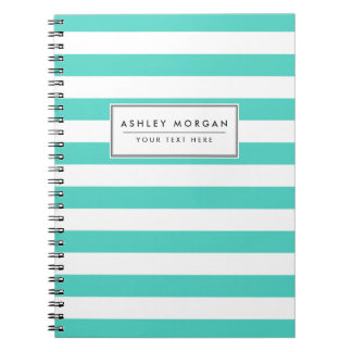 Teal Blue and White Stripe Pattern Notebook