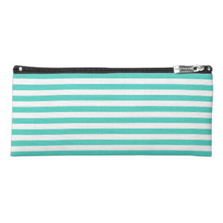 Teal Blue and White Stripe Pattern Pencil Case