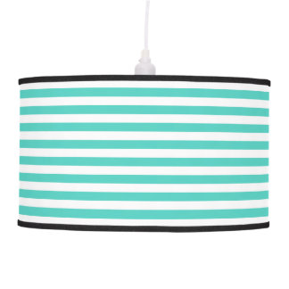 Teal Blue and White Stripe Pattern Pendant Lamp