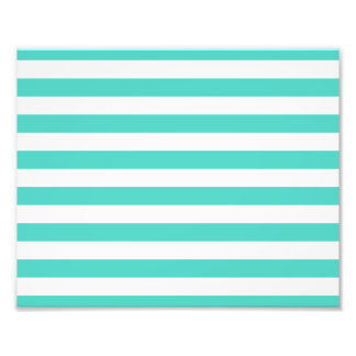 Teal Blue and White Stripe Pattern Photo Print