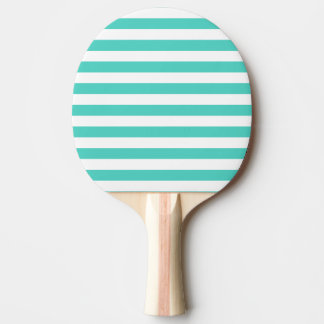 Teal Blue and White Stripe Pattern Ping Pong Paddle