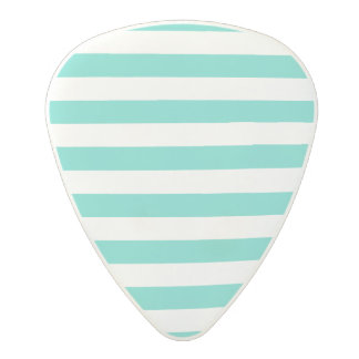 Teal Blue and White Stripe Pattern Polycarbonate Guitar Pick