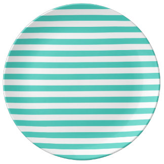 Teal Blue and White Stripe Pattern Porcelain Plate
