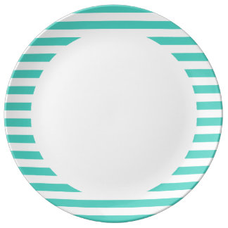 Teal Blue and White Stripe Pattern Porcelain Plates