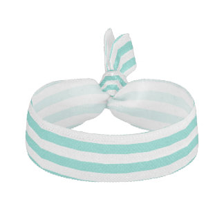 Teal Blue and White Stripe Pattern Ribbon Hair Ties
