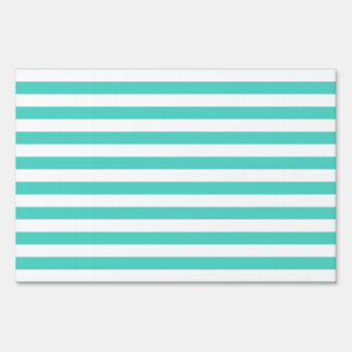 Teal Blue and White Stripe Pattern Sign