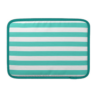 Teal Blue and White Stripe Pattern Sleeve For MacBook Air