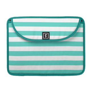 Teal Blue and White Stripe Pattern Sleeve For MacBooks