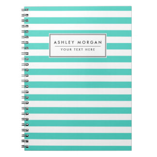 Teal Blue and White Stripe Pattern Spiral Notebook