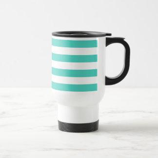 Teal Blue and White Stripe Pattern Travel Mug
