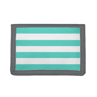 Teal Blue and White Stripe Pattern Tri-fold Wallets