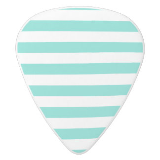 Teal Blue and White Stripe Pattern White Delrin Guitar Pick