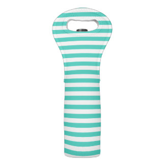 Teal Blue and White Stripe Pattern Wine Bag